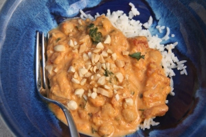 Yummy Thai yellow curry with sweet potato and chickpeas over rice
