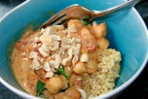 Thai yellow curry with chickpeas and sweet potato over millet - YUM!