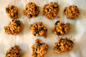 Vegan spiced oatmeal-blueberry-cashew cookies. YUM!