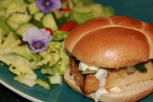 Miso glazed tofu sandwich