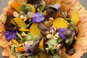 Flower power golden beet salad