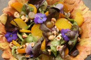 Flower power golden beet salad