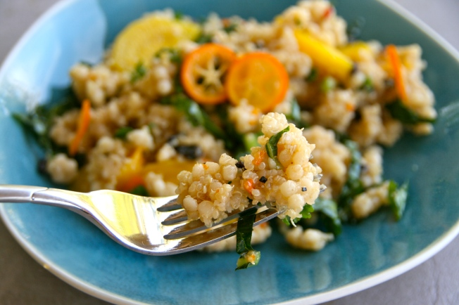 Israeli couscous salad with orange cumin vinaigrette