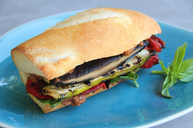 Grilled veggie sandwich with romesco sauce